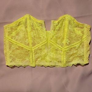 Neon yellow corset lace bra